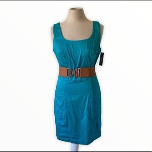 BCX teal colored belted sheath dress